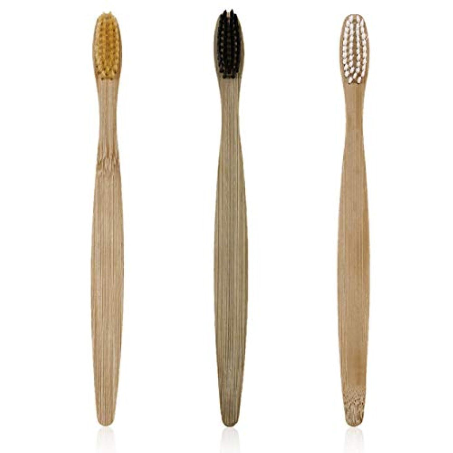 パステルスズメバチ日Tivollyff 電動歯ブラシ 3枚/セット環境にやさしい木材歯ブラシ竹歯ブラシソフト竹繊維の木製ハンドルの低炭素環境に優しいです 黒/白/黄