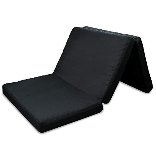 高反発マットレス 三つ折 凹凸加工 竹炭消臭 190N 程よい硬さ ブラック 10cm (セミダブル)
