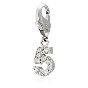 [ラ プレッツァ] LA PUREZZA K18 ホワイトゴールド ナンバーチャーム[5] ダイヤモンド LA3690 LA3690