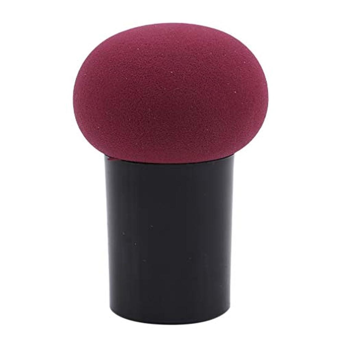 型インペリアル乏しいHKUN スポンジパフ 化粧パフ ケース付き きのこ形 使いやすい マッシュルーム型 メイク用 乾湿両用 美容ツール オシャレ ワインレッド