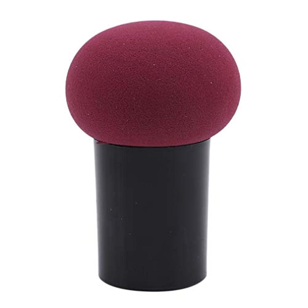 気づかない品ブーストHKUN スポンジパフ 化粧パフ ケース付き きのこ形 使いやすい マッシュルーム型 メイク用 乾湿両用 美容ツール オシャレ ワインレッド