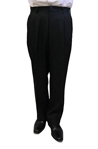 スラックス パンツ メンズ03618 秋冬洗えるスラックスパンツツータック(裾上げテープ付) (94cm, 黒)