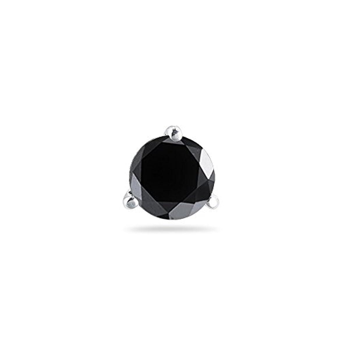 細分化するラメ積分クリスマスDeal – 3 / 8 ( 0.35 – 0.45 ) CTSの3.50 – 4.00 MM AAAラウンドブラックダイヤモンドメンズスタッドイヤリングで14 Kホワイトgold-screw Backs