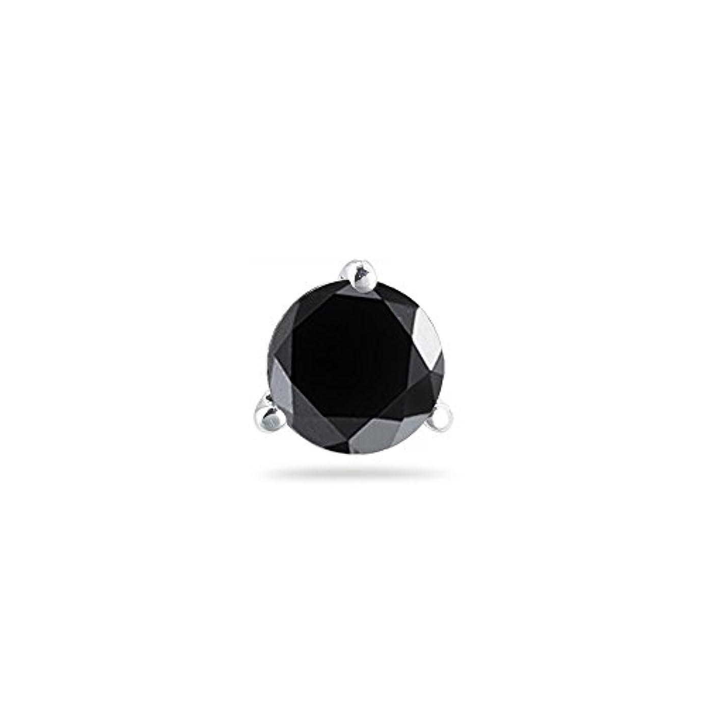 核抵当アライメントクリスマスDeal – 3 / 4 ( 0.71 – 0.80 ) CTSの5.34 – 6.01 MMブラックダイヤモンドメンズスタッドイヤリングで14 Kホワイトgold-screw Backs