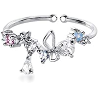 Cute CZ Waterdrop Open Statement Rings Sterling Silver 925 for Women Girls Dianty Bow Knot Colorful Crystal Flower Eternity Promise Engagement Wedding Ring Toe Tail Finger Band Jewelry Gifts