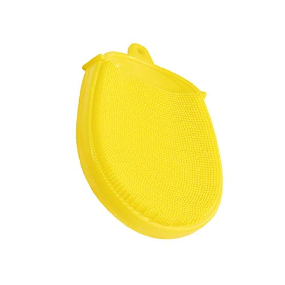 ヘリコプター鈍いアナウンサーHeallily バスブラシシリコンボディブラシソフトマッサージバックブラシクレンジングスクラバーキッズバスアクセサリー(黄色)
