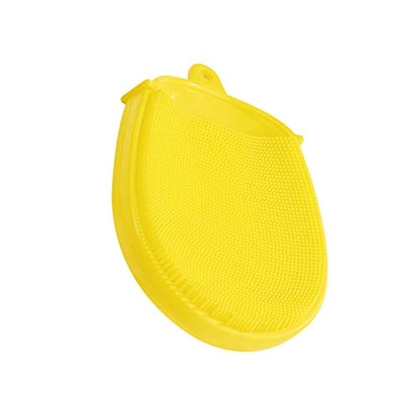 常習的余暇イヤホンHeallily バスブラシシリコンボディブラシソフトマッサージバックブラシクレンジングスクラバーキッズバスアクセサリー(黄色)