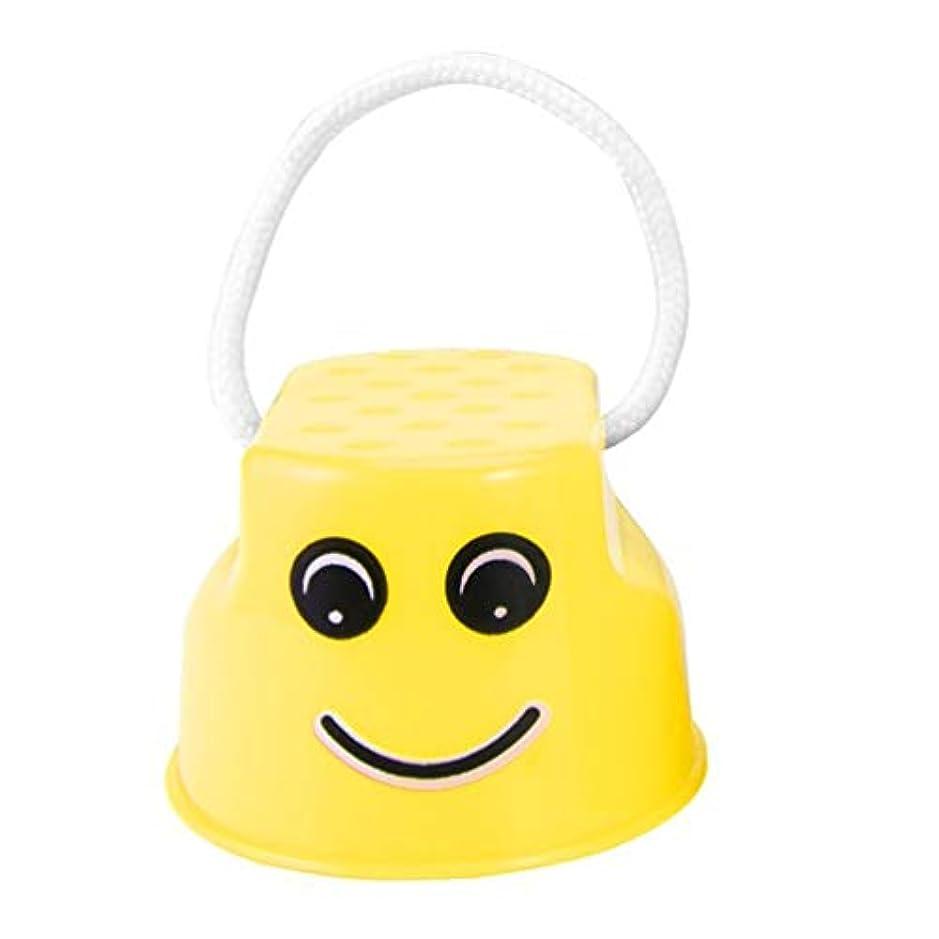 即席ひばりのみ面白いプラスチック子供子供アウトドア楽しい散歩高床式ジャンプ笑顔フェイスパターンスポーツバランストレーニング玩具最高の贈り物 - 黄色