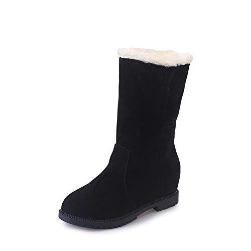 [JOYTO] ムートンブーツ レディース 暖かい 冬用ブーツ ショット丈 スノーブーツ 綿靴 裏ボア 2WAY 折り返し 防寒 ミドルブーツ 3cmアップ カジュアル 雪用 保温 アウトドア 暖かい ブラック 22.5CM BK35