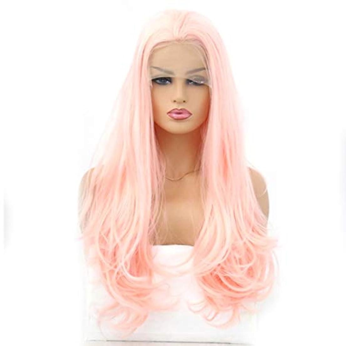 ご近所残基舌Kerwinner 女性のためのウィッグライトピンク化学繊維フロントレースロングカーリーヘア (Size : 22 inches)