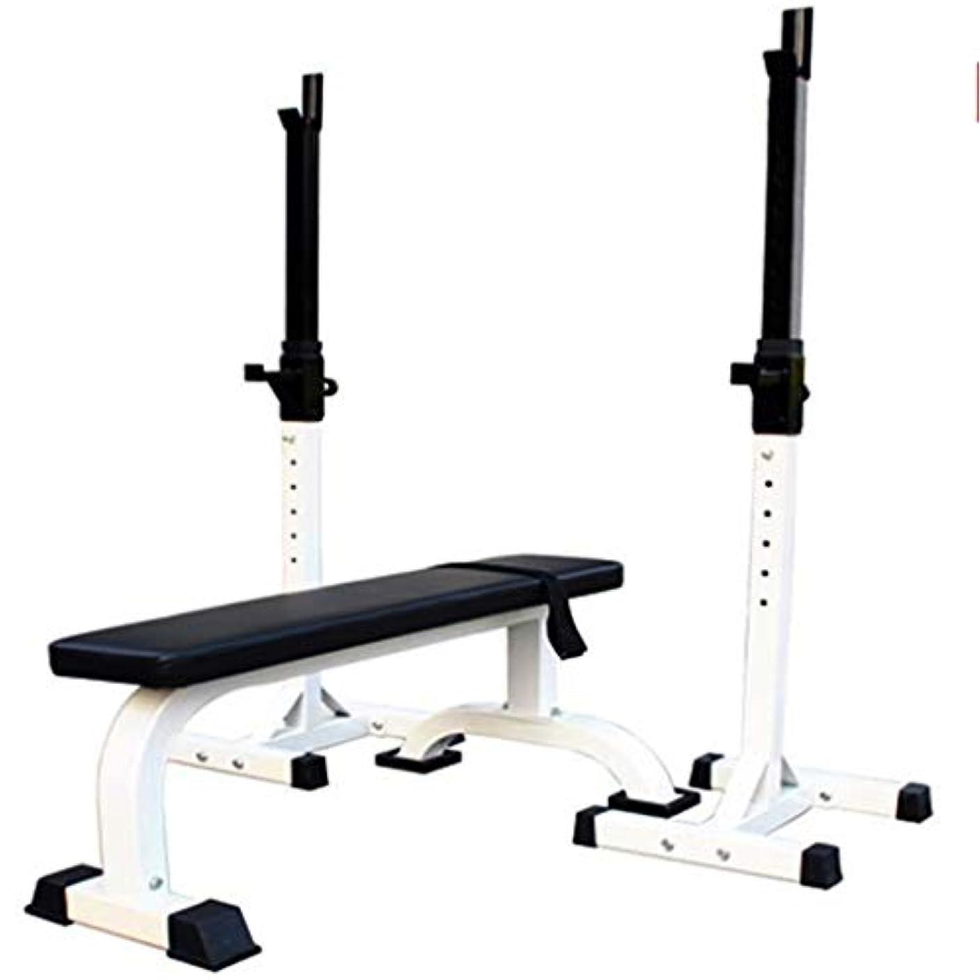カウントアップ試してみる批判スクワットラック調節可能なバーベルラック重量ベンチベンチプレスラックホームフィットネス機器スポーツトレーニング用品 (Color : 白, Size : 107x68x40.5cm)