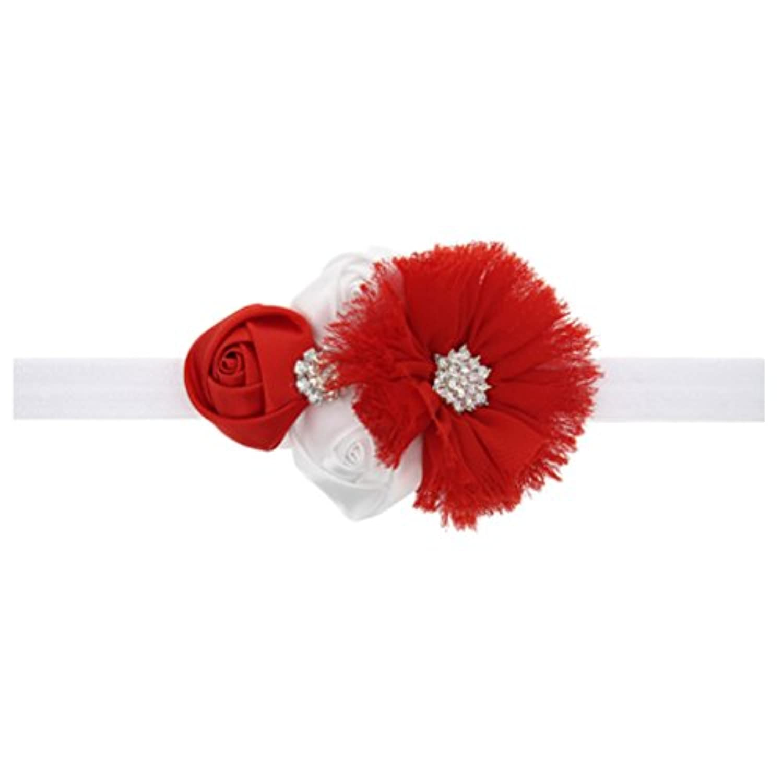 Zhhlinyuan ベビー小物 Baby Girls ヘアアクセサリ Toddler Kids Christmas/Photography Pops/Costume/Party Elastic Red Bouquet Headband Hairband