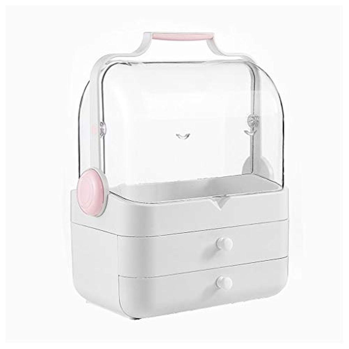 潜在的な執着クラブLDG クリア 化粧品収納ボックス、プラスチック ポータブル 大容量 引き出し 蓋 防水 防塵 メイクケース (Color : A)