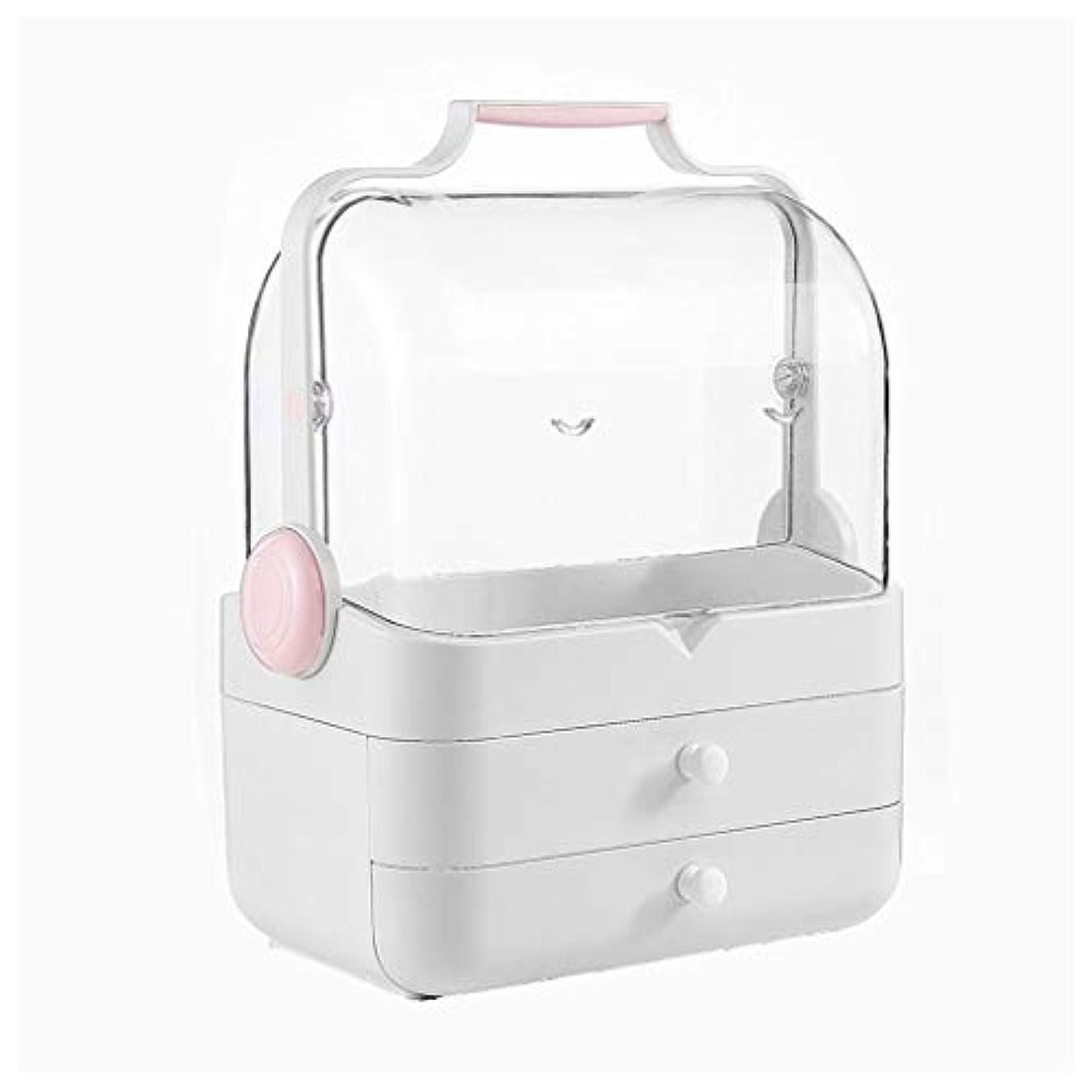 破産教え元のLDG クリア 化粧品収納ボックス、プラスチック ポータブル 大容量 引き出し 蓋 防水 防塵 メイクケース (Color : A)