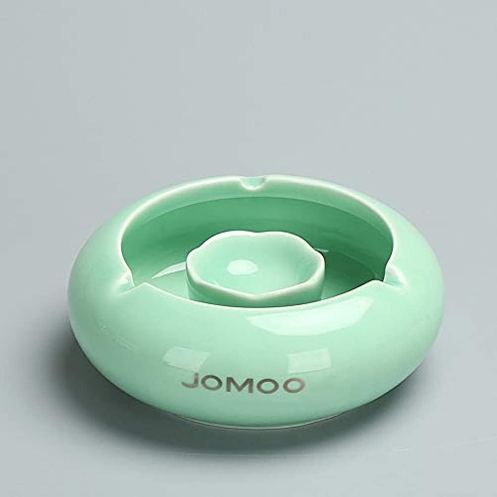 嫌がらせ優雅な風タバコ、ギフトおよび総本店の装飾のための灰皿円形の光沢のあるセラミック灰皿 (色 : 緑)