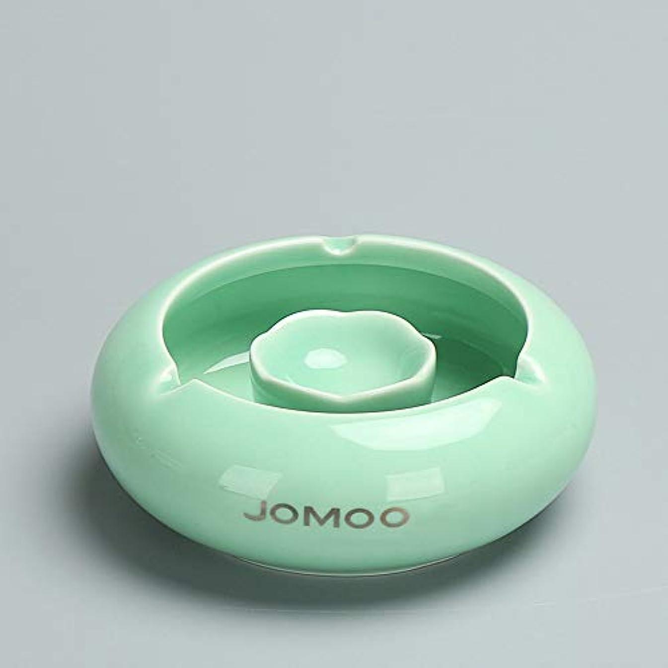 ひばりおとこ発信タバコ、ギフトおよび総本店の装飾のための灰皿円形の光沢のあるセラミック灰皿 (色 : 緑)