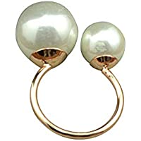 ZOZOE Fashion Women Charming Girls Two Imitation Pearl Opening Ring Wedding Adjustable Finger Ring Jewelry Holiday Gifts