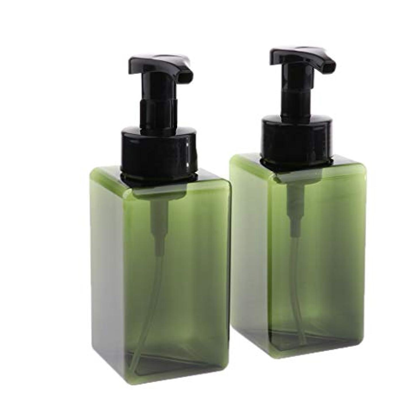 CUTICATE 2個 450ml 小分けボトル 泡ポンプボトル 空ボトル ディスペンサー 詰め替え容器 旅行ボトル 全6色 - 緑