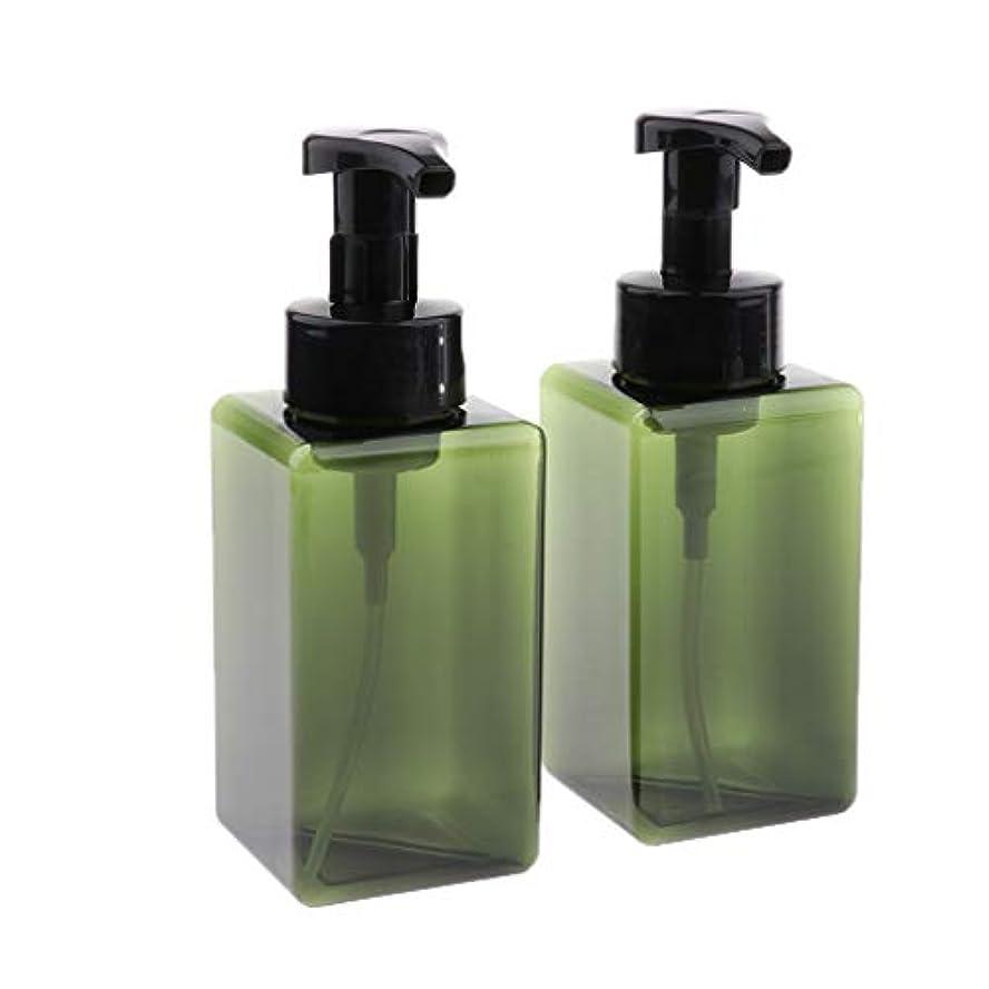 コーンウォールカジュアル退屈な2個 450ml 小分けボトル 泡ポンプボトル 空ボトル ディスペンサー 詰め替え容器 旅行ボトル 全6色 - 緑