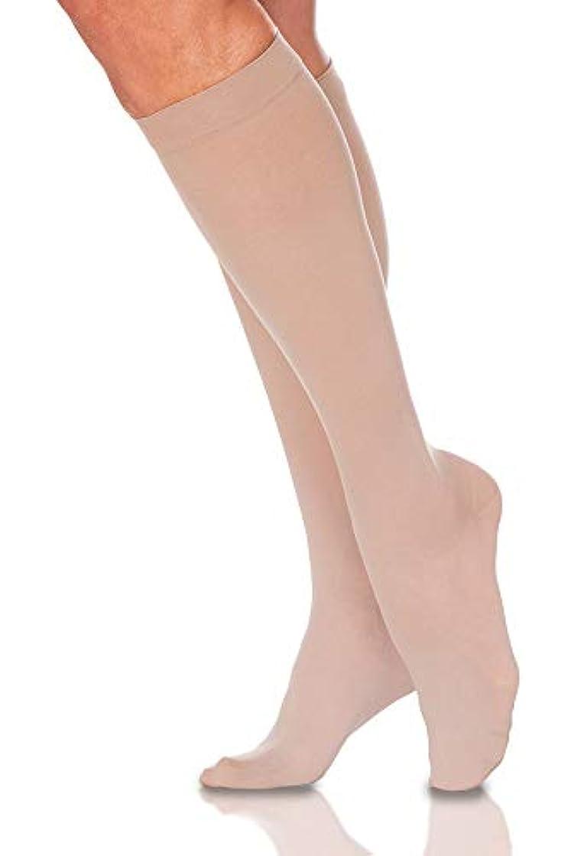 時系列統計的鋼Sigvaris EverSheer 781CMSW33 15-20 Mmhg Closed Toe Medium Short Calf Hosiery For Women, Natural by Sigvaris