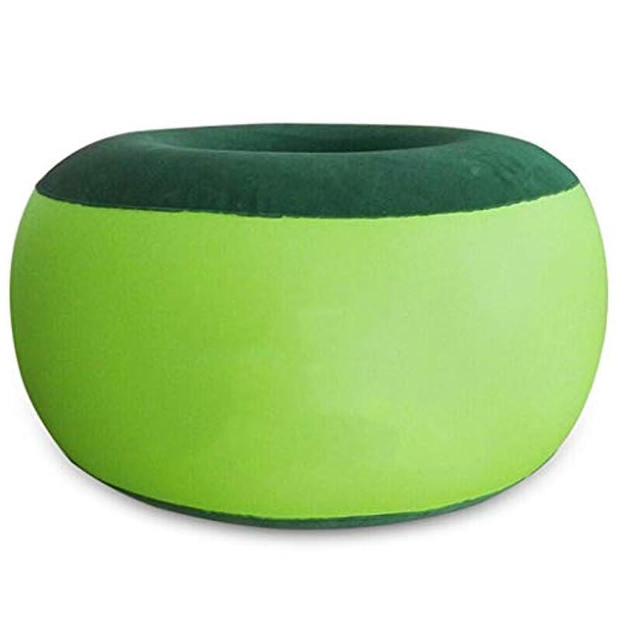 三角人口世辞ポータブルインフレータブル屋外レジャー折りたたみ椅子ソファのヨガのスツールは、表面をソールソファ55×30センチメートル(色:緑)