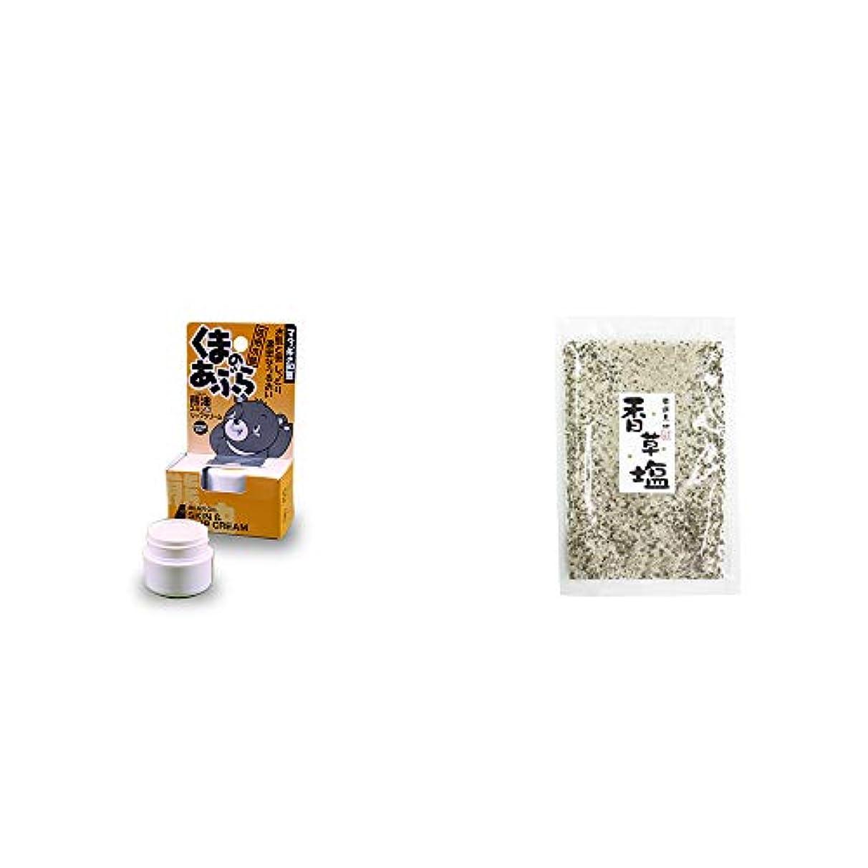 ひもくしゃくしゃ扇動[2点セット] 信州木曽 くまのあぶら 熊油スキン&リップクリーム(9g)?香草塩 [袋タイプ](100g)