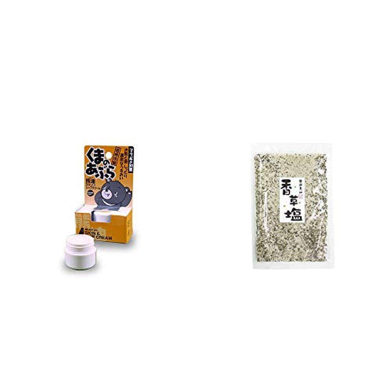 [2点セット] 信州木曽 くまのあぶら 熊油スキン&リップクリーム(9g)?香草塩 [袋タイプ](100g)