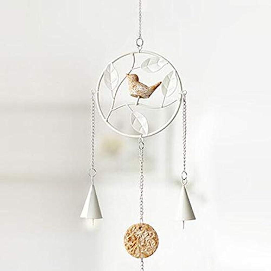 クレデンシャル鳴らす酔っ払いHongyuantongxun 風チャイム、アイアンクリエイティブ手作りの鳥風チャイム、グレー、全身について56センチ,、装飾品ペンダント (Color : Round White)