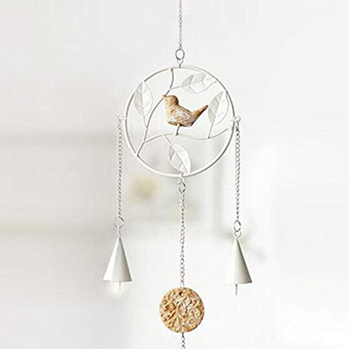 音節テロホバートJielongtongxun 風チャイム、アイアンクリエイティブ手作りの鳥風チャイム、グレー、全身について56センチ,絶妙な飾り (Color : Round White)