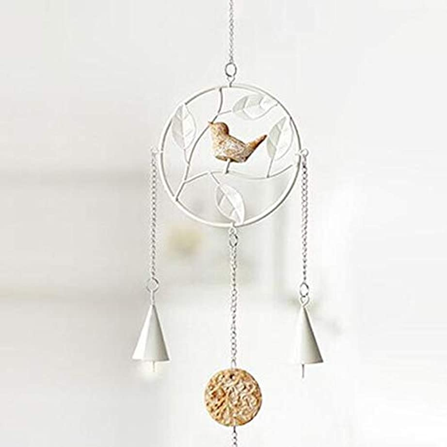 オープニング道徳のボリュームJielongtongxun 風チャイム、アイアンクリエイティブ手作りの鳥風チャイム、グレー、全身について56センチ,絶妙な飾り (Color : Round White)