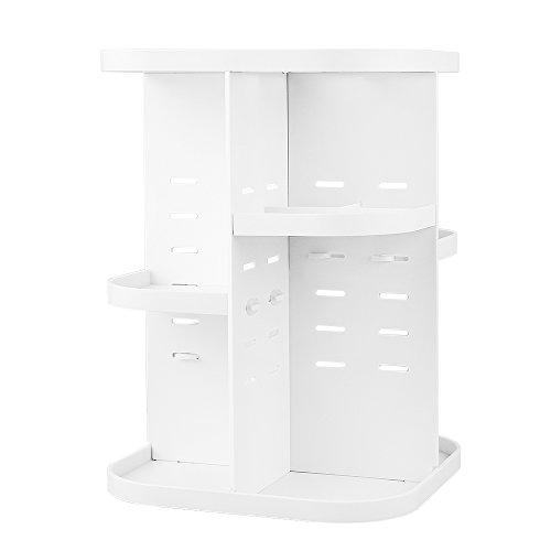 RoomClip商品情報 - Jerrybox コスメ収納 回転 化粧品収納ボックス メイクボックス コスメボックス スキンケア収納 (スクエア薄型, ホワイト)