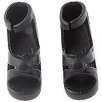 ノーブランド品 2足 1/6 BJDブライスドール用シューズ ハイヒール 靴 装飾品 人気 プレゼント 2パタンえらべ - ブラック