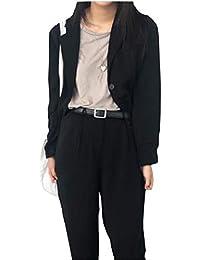 (ジャンーウェ)パンツスーツ 上下セット コートはワンサイズ オフィス レディース カジュアル 春秋冬 おしゃれ ゆったり 黒 卒業式 入学式 卒園式 結婚式 20代30代 可愛い