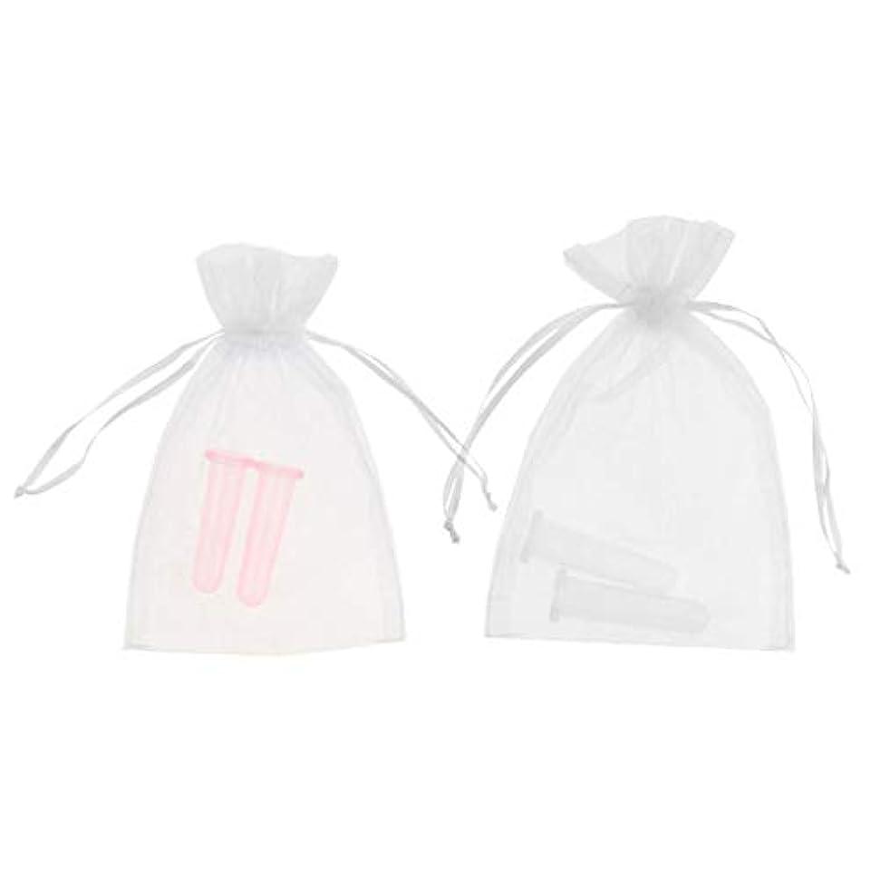 カップルそっと止まるシリコーン素材 顔 首用 マッサージ 吸い玉 カッピングカップ 2個 収納ポーチ 高品質