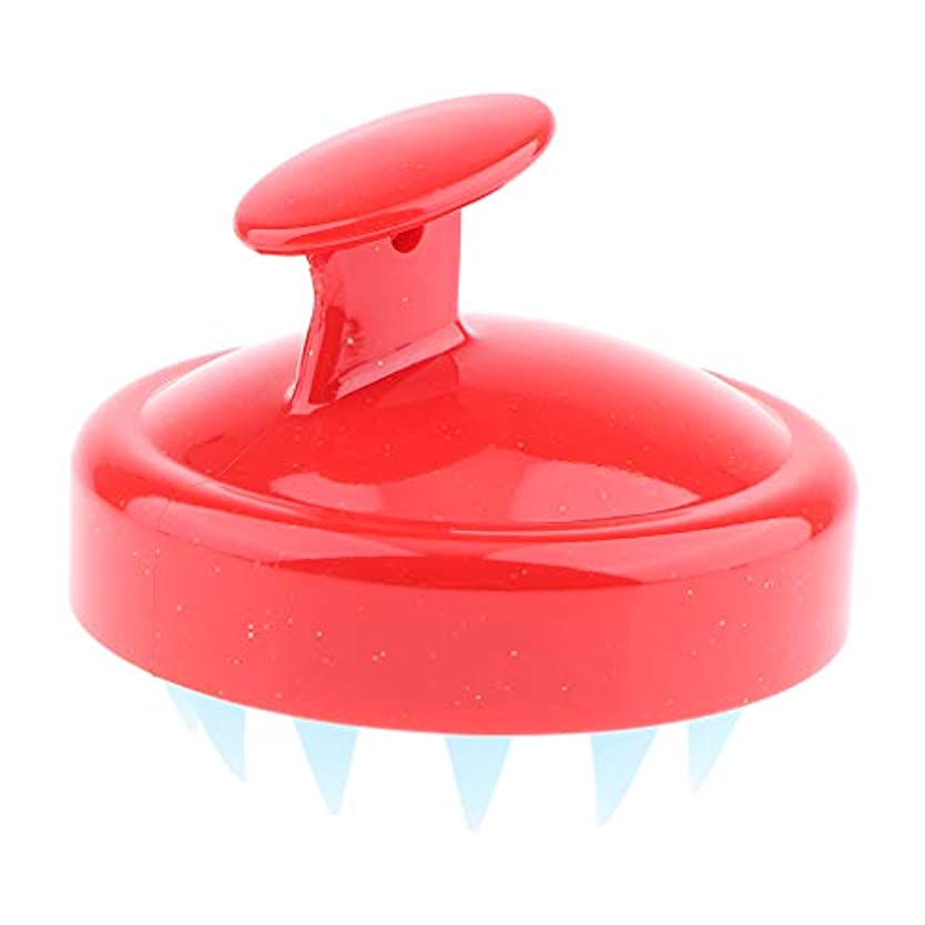 他の場所間マーカーInjoyo シャンプーブラシ マッサージ ブラシ 櫛 くし 頭皮洗浄 防水 ソフト素材 ストレス解消 快適 超軽量 - シャイニーレッド
