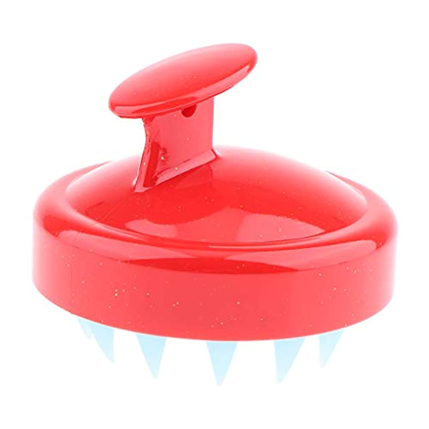 入る裁量ピークInjoyo シャンプーブラシ マッサージ ブラシ 櫛 くし 頭皮洗浄 防水 ソフト素材 ストレス解消 快適 超軽量 - シャイニーレッド