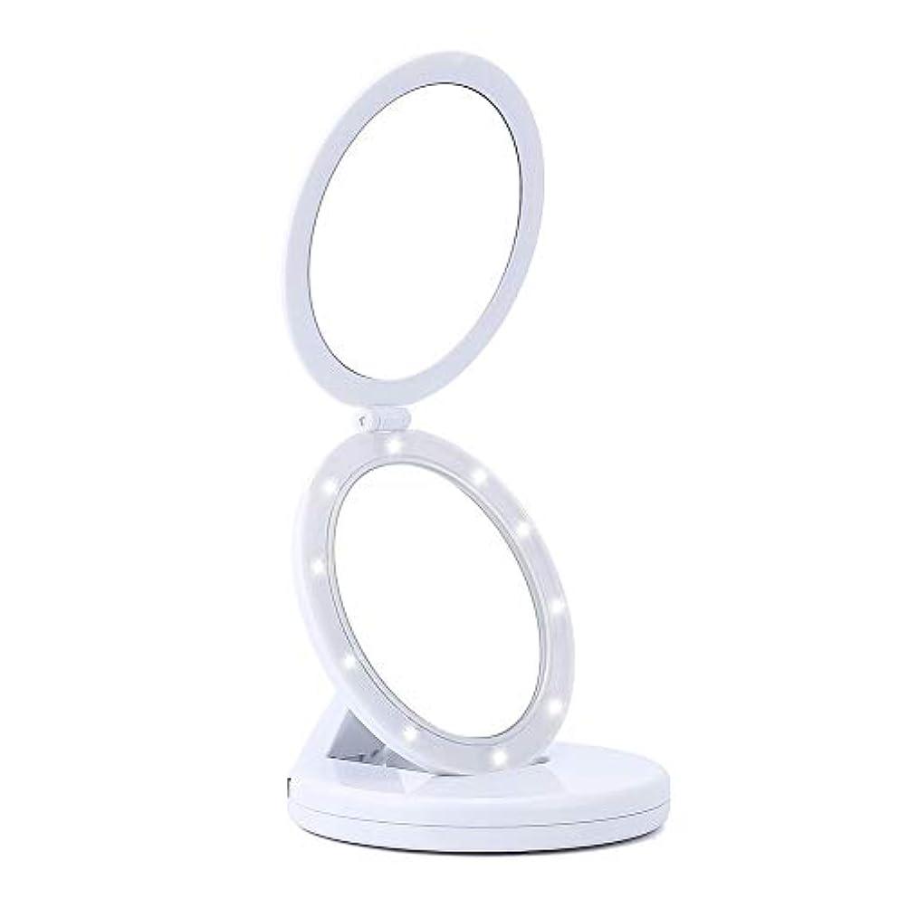 ASOSMOS コンパクト鏡 女優ミラー 折りたたみ式 5倍拡大鏡 LEDライト付き 卓上 化粧ミラー 円形 携帯用 USB給電 メイクミラー