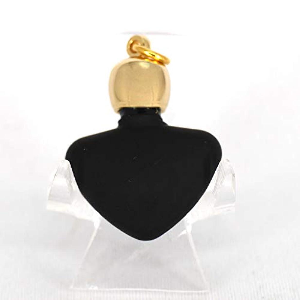 言い聞かせるチケット自分ミニ香水瓶 アロマペンダントトップ ハートブラックフロスト(黒すりガラス)0.8ml?ゴールド?穴あきキャップ、パッキン付属【アロマオイル?メモリーオイル入れにオススメ】