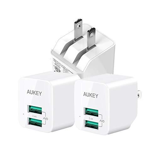 3個セットAUKEY USB充電器 ACアダプタ 2ポート 超小型 折りたたみ式 軽量 コンパクト スマホ充電器 AiPower機能搭載 iPhone X / iPhone 8 / iPhone 7 / 7 Plus / iPhone6s / 6s Plus / iPhone6 / 6 plus / iPhone SE / iPod / iPad / iPad Pro / Xperia / GALAXY / ゲーム機等対応 (ホワイト) PA-U32PSE認証済み
