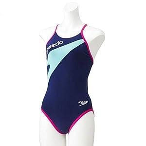 Speedo(スピード) 競泳水着 女の子 ジュニア トレインカットスーツ トレーニング ENDURANCE J 140 BP(バリブルー×ピンク) SD37T03