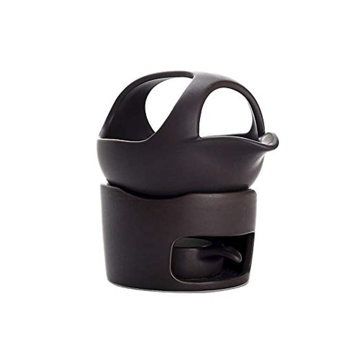家励起買う芳香器?アロマバーナー セラミックお香バーナースモークティーストーブウェイクアップお茶お香バーナー陶器お茶セットアクセサリーお香ホルダー アロマバーナー (Color : Black, サイズ : 12.5cm)