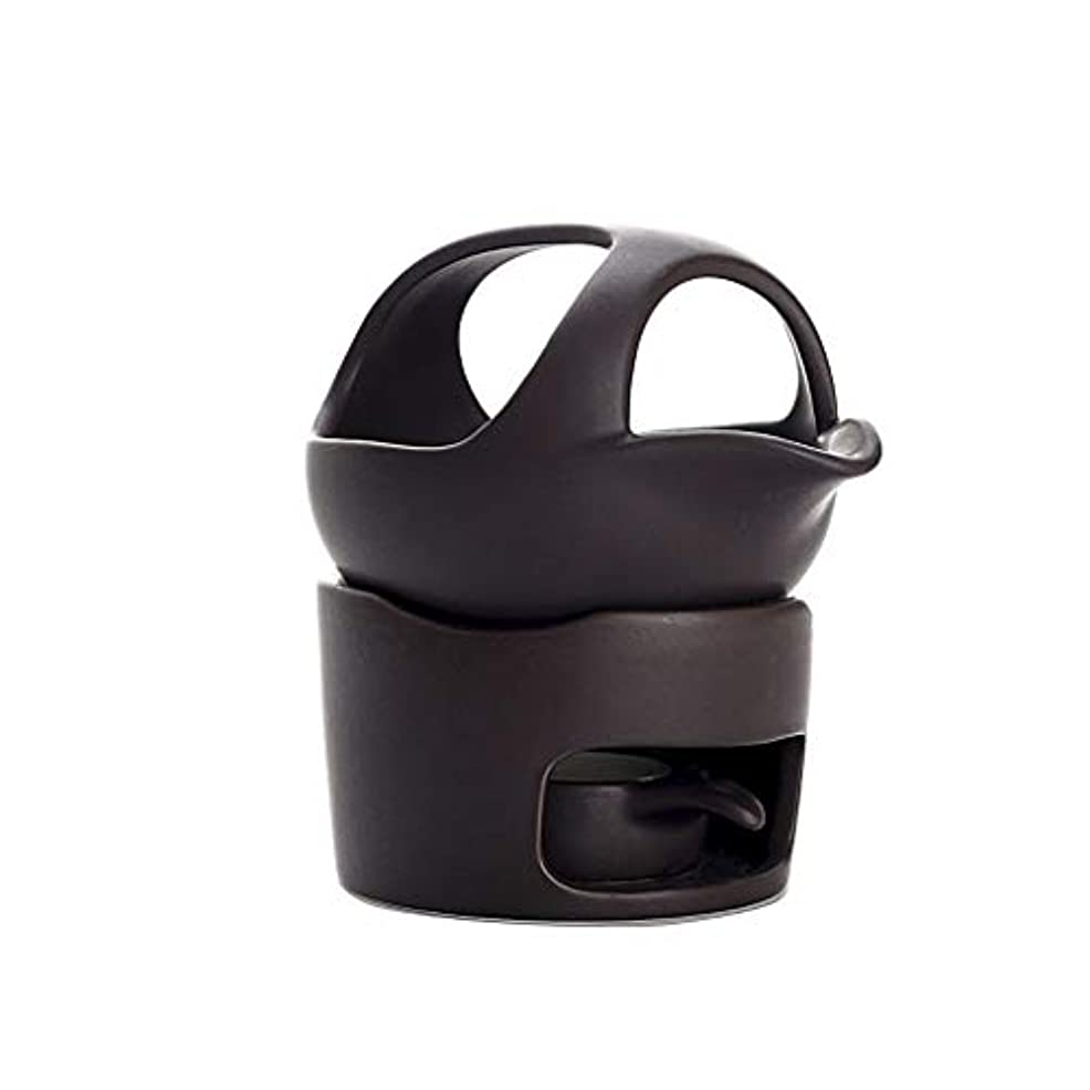 ガチョウ祝う刃ホームアロマバーナー セラミックお香バーナースモークティーストーブウェイクアップお茶お香バーナー陶器お茶セットアクセサリーお香ホルダー アロマバーナー (Color : Black, サイズ : 12.5cm)