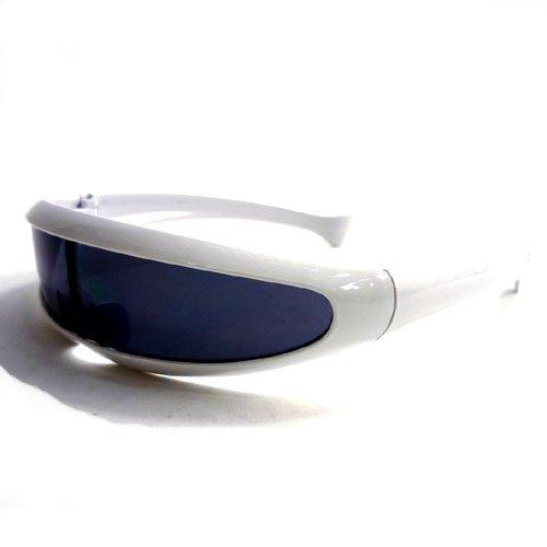 スペースサイバー サイクロプスサングラス テクノ サイバー 近未来 サングラス 個性的 おもしろ ステージ衣装 小道具 (WHITE/A(ホワイトA))