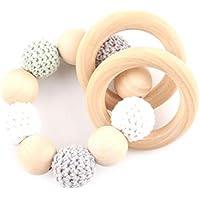 Mamimami Home 歯固め 看護ブレスレット ミント 木製ビーズ かぎ針編み ママ授乳ジュエリー はがため チュアブルおしゃぶり 赤ちゃんのおもちゃ[BPAフリー][FDA認可済]