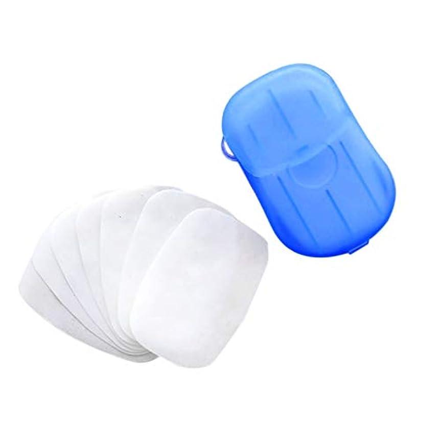 馬鹿げたベルベット連鎖Kayaki ペーパーソープ 除菌 香り 石鹸 手洗い お風呂 旅行携帯用 紙せっけん 20枚入 ケース付き カラーランダム タブレットトラベルキャリートイレットペーパー 使い捨て石鹸ペーパーウォッシュ (スカイブルー)