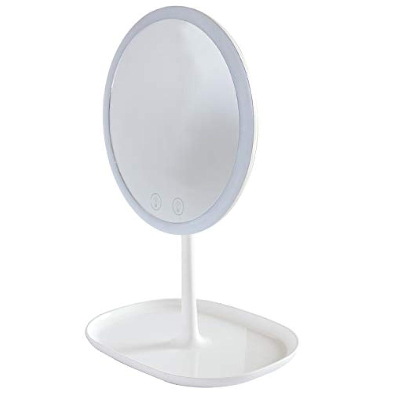 無視できる洗練された世紀Mouyor 化粧鏡***化粧鏡充電式LED、1 x / 5 x拡大、5倍拡大鏡 LEDライト付き 卓上鏡 3色の照明モード(ホワイト)