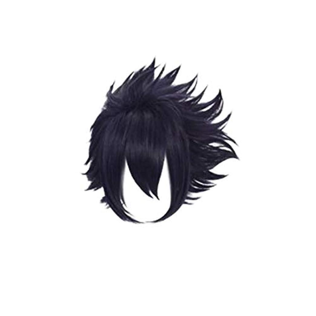 説明水分ギャングスターKoloeplf コスプレウィッグパープル人工毛フルウィッグ自然に見える耐熱ウィッグ (Color : Black)