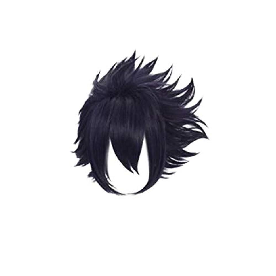 守るとげのある手のひらKoloeplf コスプレウィッグパープル人工毛フルウィッグ自然に見える耐熱ウィッグ (Color : Black)
