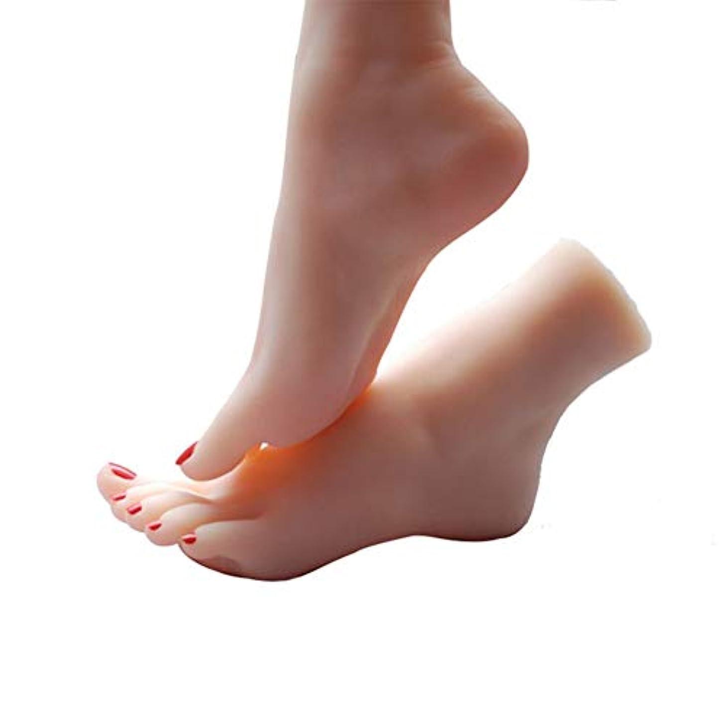 ジョットディボンドン武装解除気候の山スケッチネイルアートの練習ジュエリー靴ソックス表示(ペア)としてシリコーン女性の足のライフサイズマネキン