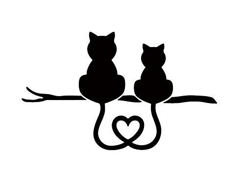 ネコ ねこ キャット 猫 cat neko うしろ姿 尻尾 しっぽ ハート マーク ペット 動物 アニマル animal アート art シルエット ステッカー シール デカール (10cm×6cm, ブラック)